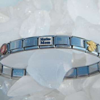 The Marine Mom Charm Bracelet - US Marine Mom Stainless Steel Italian Charm Bracelet