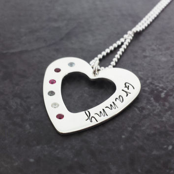 Sterling Silver Heart Mother/Grandmother Necklace