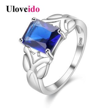 Uloveido Wedding Rings for Women Silver Color Dark Blue Rectangle Zircon Engagement Ring Female Bijoux Anillos Mujer Jewels Y312