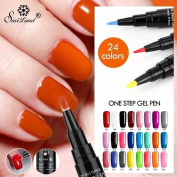 Saviland Dawdler Gel 3 In 1 Gel Nail Varnish Pen Glitter One Step Nail Gel Polish 24 Colors No Need Top Base Coat UV Gel Lacquer