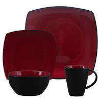 Soho Lounge 16 pc Dinnerware, Red Square Shape (Service for 4)