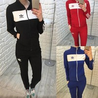 adidas fashion hooded cardigan jacket coat pants trousers set two piece sportswear