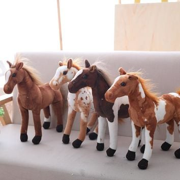 1pc 30cm Simulation Horse Plush Toys Cute Staffed Animal Zebra Doll Soft Realistic Horse Toy Kids Birthday Gift Home Decoration