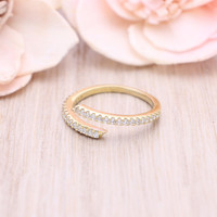925 sterling silver gold vermeil plated cubic zirconia Bypass ring / Wrap around ring