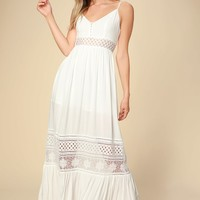 Kaia White Lace Sleeveless Maxi Dress