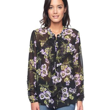 Black/Sunlit Romantic Poppy Romantic Pansy Blouse by Juicy Couture,