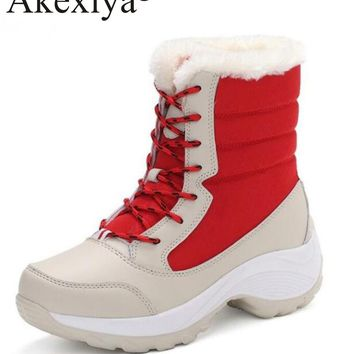 Akexiya Big Size 25.5cm Winter Women Snow Boots Running Shoes Lace Up Sport Shoes Girls Platform Woman Outdoor Sneakers