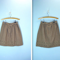 Vintage Wool Skirt / Camel Brown Cut Out Embroidered Skirt / m-l