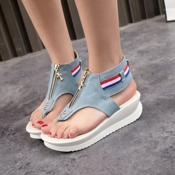 women's fashion new sandals beach punk denim jean cover clip toe cool shoes = 1929969796