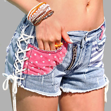 Printed Bandage Burrs Women Wash Jeans Denim Shorts Size S-L Holes Decorated Summer Fashion Sexy Lady Short Pants Trousers