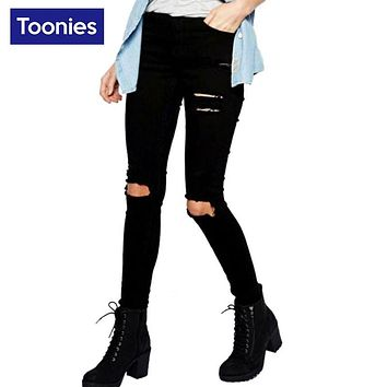 2017 New Fashion Skinny Black High Waist Jeans Wowan Plus Size XXL Hole Ripped Jeans For Women Denim Pants Jeans Femme