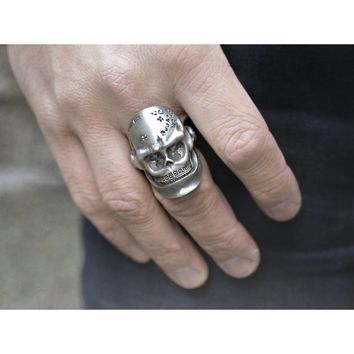 Skull Sterling Silver Hinjed Jaw Ring