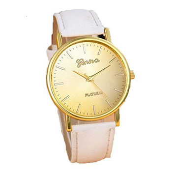 Geneva Gold Face Watch with White Leather Bands