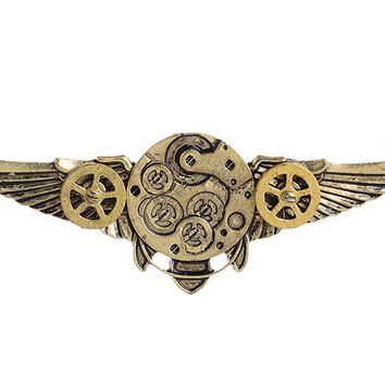 Steampunk Antique Angle Wings Gears Pendant Long Chain Statement Necklace