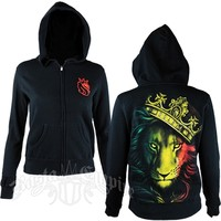 Fierce Rasta Lion and Crown Black Hoodie - Women's @ RastaEmpire.com