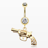 Golden Pistol Gun Sparkle Belly Ring
