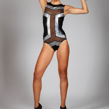 Art Deco Geometric Swimsuit, Futuristic Black & Silver Swimwear, Exclusive Designer Beach Wear, Sexy Sheer Maillot, Jazz Diva, by LENA QUIST