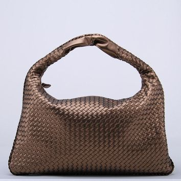 New Celebrity Ladies Woven Leather Handbag Hobo Dumplings Bag Women's Knitting Casual