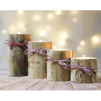 4 Log Candle Holders, Advent Candle Holder