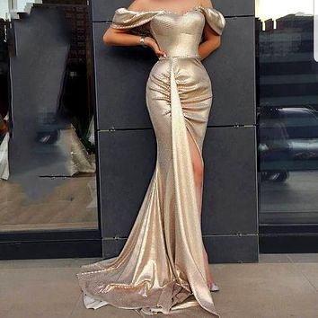 2020 New Women's Sexy Slim Shoulder Slim Dress