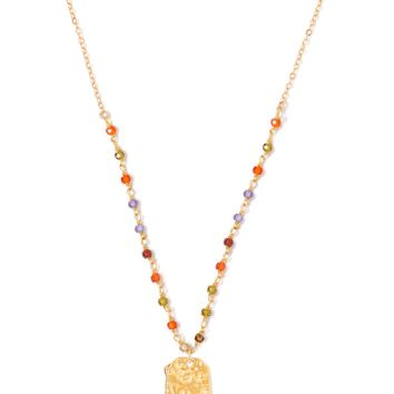 Tess and Tricia Lyra Multi-Gem Beaded Chain + Penta Necklace