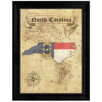 North Carolina State Vintage Map Gifts Home Decor Wall Art Office Decoration