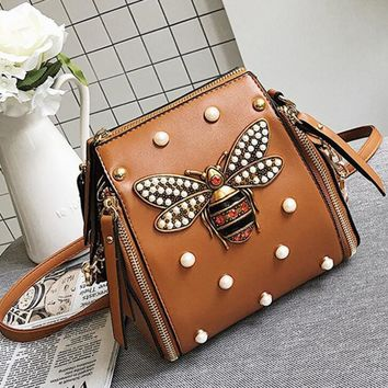 Fashion and drill bee backpack female summer new rivet multi-bag trend single shoulder cross-body bag