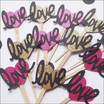 Cupcake Toppers, Hot Pink And Gold, Glitter Hearts, Script  Word Love, Weddings, Bridal Shower Decoration, Valentines Day Party, Set Of 24