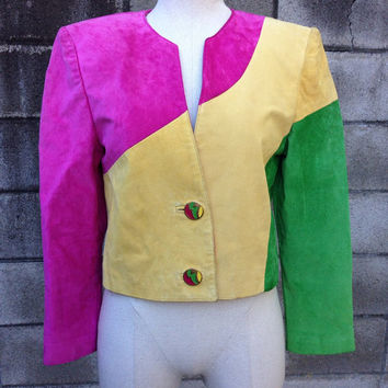 Suede Leather Coat Vintage 1990s Color block Danier Jacket