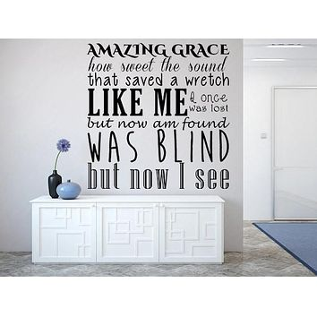 Wall Quote Decal, Amazing Grace vinyl wall decor for any room in your home