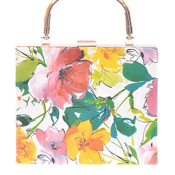 Floral Purse with Gold Handle