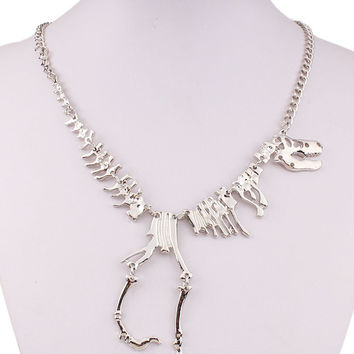 Silver Dinosaur Skeleton Necklace