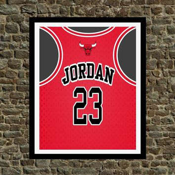 Jordan Jersey Chicago Bulls Art Print - Perfect gift for the Basketball fan, great for