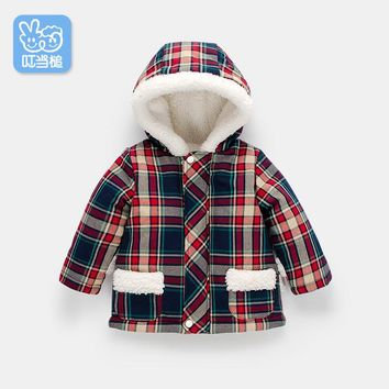 Dinstry Baby hooded jacket boy and girl new arrivel autumn and winter plaid jacket baby warm cotton-padded coat