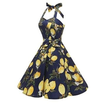 Lemon Print Fashion Spaghetti Strap Fashion Party Midi Dresses for Women Elegant Vintage Retro Rockabilly Dress Swing