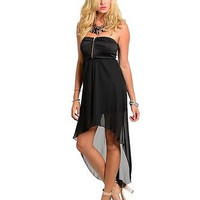 Junior's Black Strapless High Low Dress