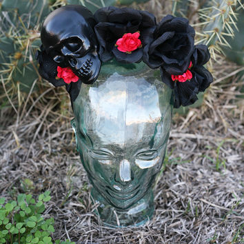 Black and Red Flower Crown/ Headband with Black Skull inspired by Frida and Lana Del Rey (Mexican, Day of the Dead)