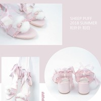 [$55.00]Puff Pink White and Blue Mid-heels Sandals by Sheep Puff