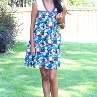 Cruise Floral + Lace Tank Dress {Blue Mix}