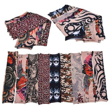 Full Arm Tattoo Large Flower Shoulder Fake Tattoo Sleeves For Man Body Paint Death Skull Rose Black Fire Death Patterns Randonm