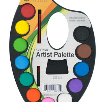 Watercolor Paint Artist Palette with Mixing Tray: Case of 24