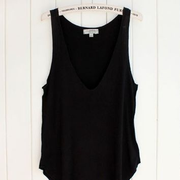 V-neck Loose Tank - Black