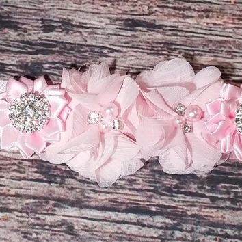 Maternity Sash! It's a girl! Pink Rhinestone Pearl Chiffon Flowers and Satin Bling Flowers on Pink Satin Sash!