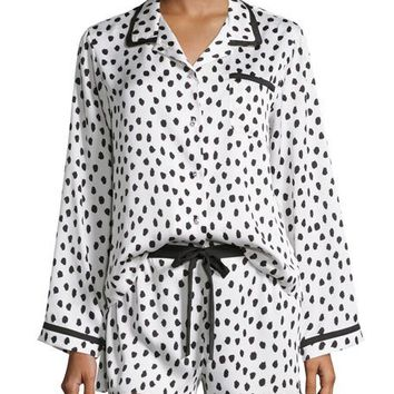 kate spade new york Flamingo Dot Shortie Pajama Set, White Dots
