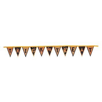 """11.5' Polka Dot and Floral """"Trick or Treat"""" Banner Flag Halloween Garland Decorations"""