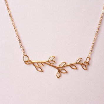 gold plated branch necklace, bridal necklace, matte yellow golden leaf necklace, matte finish leaf branch necklace