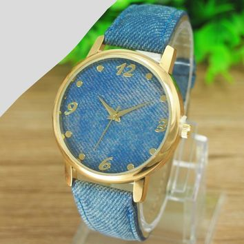 New Promotion Relojes 1pcs/lot Casual Ladies Denim Cloth Alloy Dress Watches Woman Wrist Watch For Women
