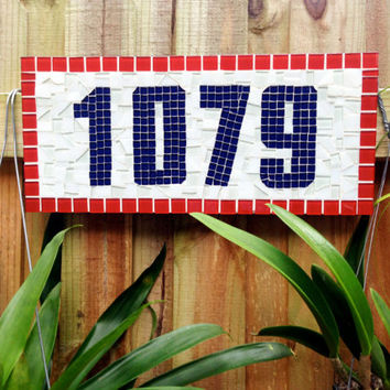 Red, White and Blue Address Sign // Patriotic House Number Plaque
