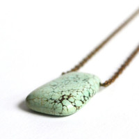 Turquoise Single Stone Necklace. Pale Green  Detailed Stone Necklace. Turquoise Single Stone Necklace. Canadian Shop