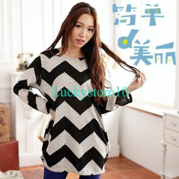 Women Stripes Crewneck Long Sleeve Casual Loose Sweater Knitted Blouse Tops